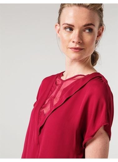 Love'n Fashion Paris Yakası Organize Ve Geometrik Detaylı Bluz Fuşya